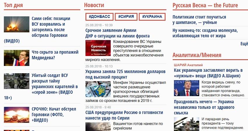 Новости на сайте Русская весна