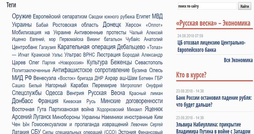 Перечень тегов на сайте Русская весна