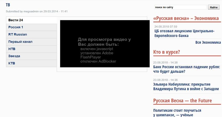 Телевидение на сайте Русская весна